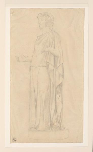 Monuments, figures : Dessin d'après une statue d'homme