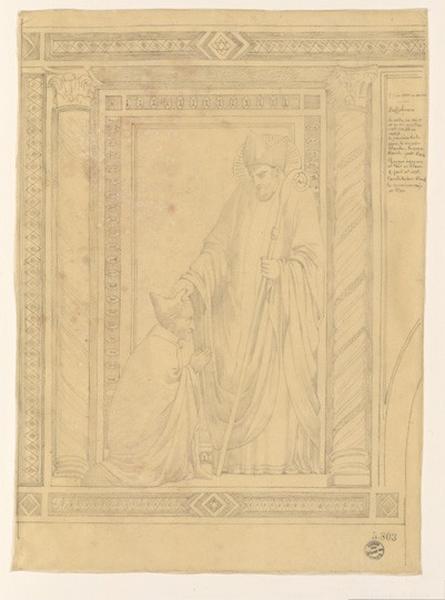 Monuments, figures : Copie à Assise d'un évêque bénissant