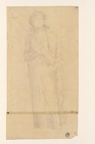 LENEPVEU Jules Eugène (dessinateur) : Monuments, figures : Etude d'une femme d'après une fresque à Pompéi