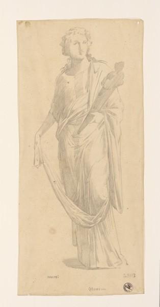 LENEPVEU Jules Eugène (dessinateur) : Monuments, figures : Etude de femme d'après une fresque à Pompéi