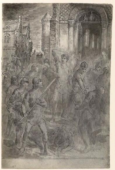 Scène de combat devant une église_0