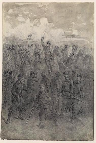 Scène de bataille, au premier plan , un soldat genoux à terre_0