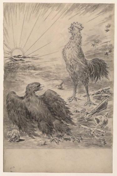 Coq victorieux devant aigle abattu_0