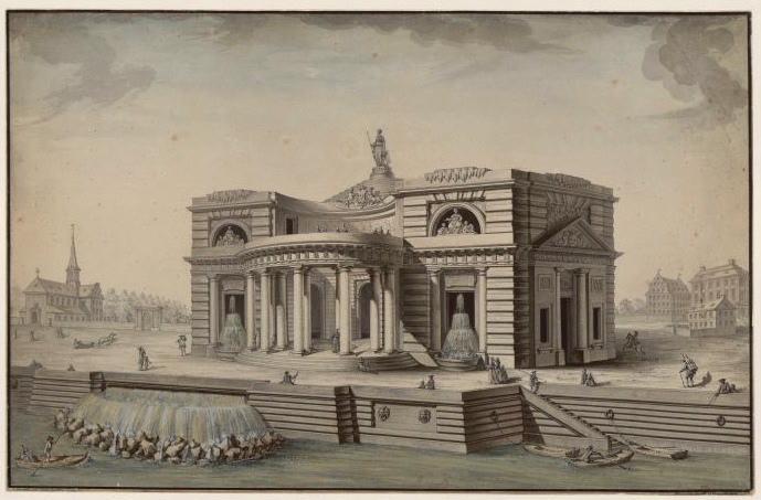 TARAVAL Louis Gustave (dessinateur, architecte) : Projet pour un palais au bord d'un rivière