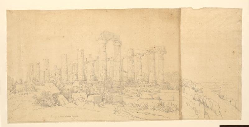 TURPIN DE CRISSE Lancelot Théodore Comte de (dessinateur, peintre) : Temple de Junon Lucine à Agrigente