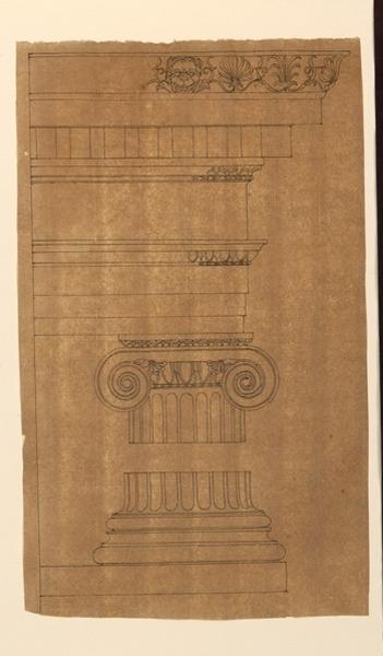 TURPIN DE CRISSE Lancelot Théodore Comte de (dessinateur, peintre) : Etude d'un chapiteau ionique