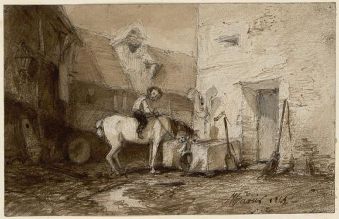 HERVIER Louis Adolphe (dessinateur) : Cavalier dans une cour de ferme