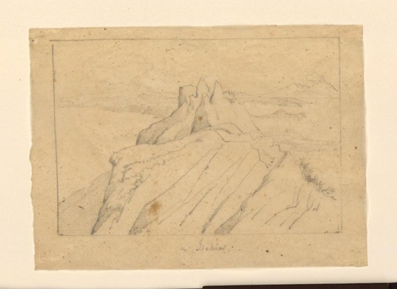 Pointe du rocher d'Ischia ; Vue d'une montagne à Ischia_0