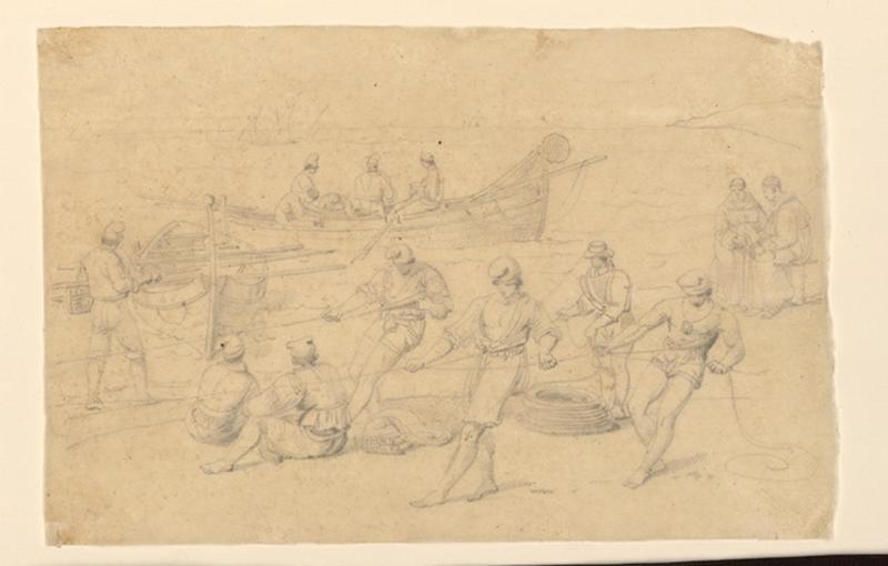 TURPIN DE CRISSE Lancelot Théodore Comte de : Pêcheurs manoeuvrant près de Naples