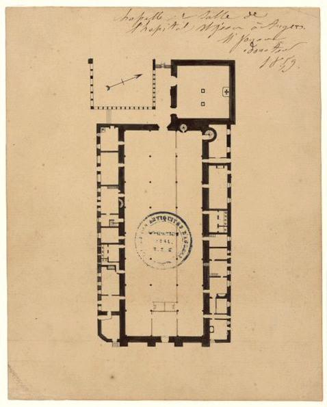 anonyme : Chapelle et salle de l'hôpital Saint-Jean