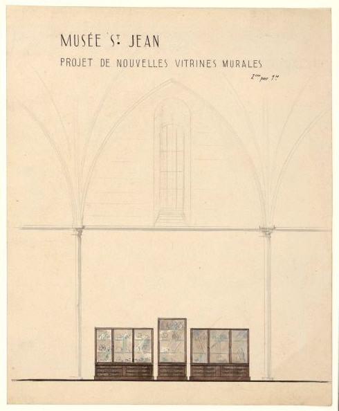 Musée Saint-Jean. Projet de nouvelles vitrines murales