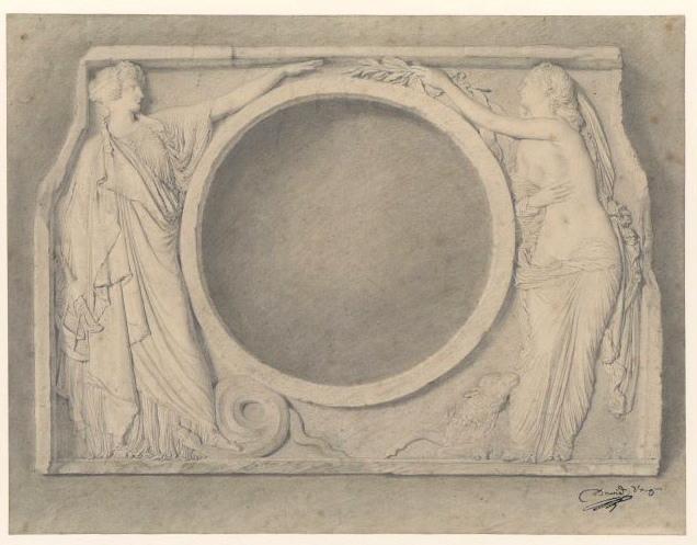L'Innocence implorant la Justice (Dessin original du bas-relief figurant L'innocence et la Justice (Oeil de boeuf de la cour du Louvre))_0