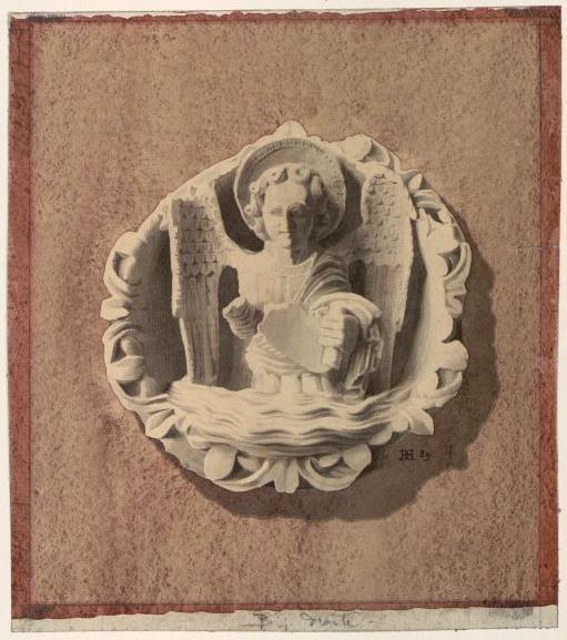 DEGEORGE Antoine Hector (architecte) : Clé de représentant saint Matthieu, Clé de voûte de l'abbaye de Vézelay