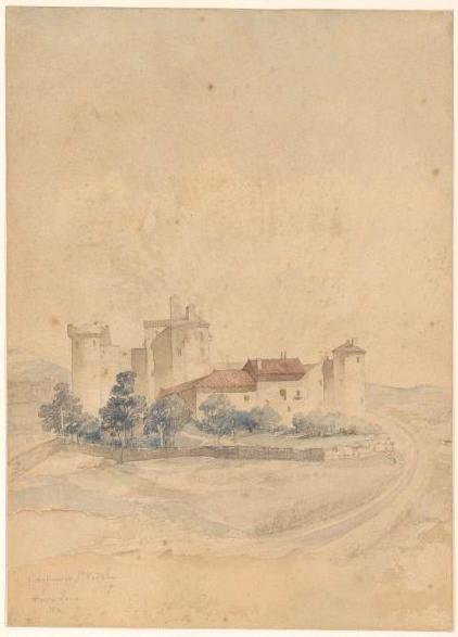 MAGNE Auguste Joseph (dessinateur, architecte) : Vue du château de Saint-Vidal (Haute-Loire)