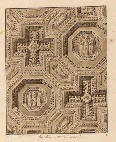 LEBAS Louis Hippolyte (dessinateur, architecte) : San Pietro in Vaticano cassetoni, Caissons du plafond de la basilique Saint-Pierre de Rome