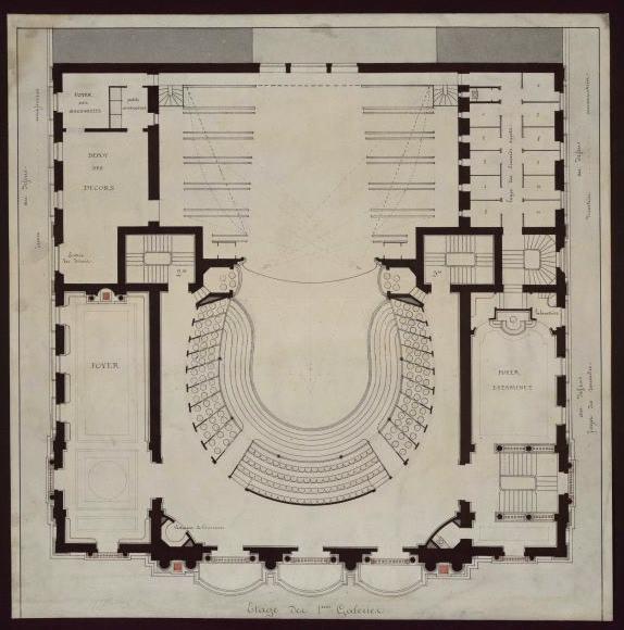 Projet du théâtre des Célestins, Lyon, plan (Etage des 1ères galeries)_0