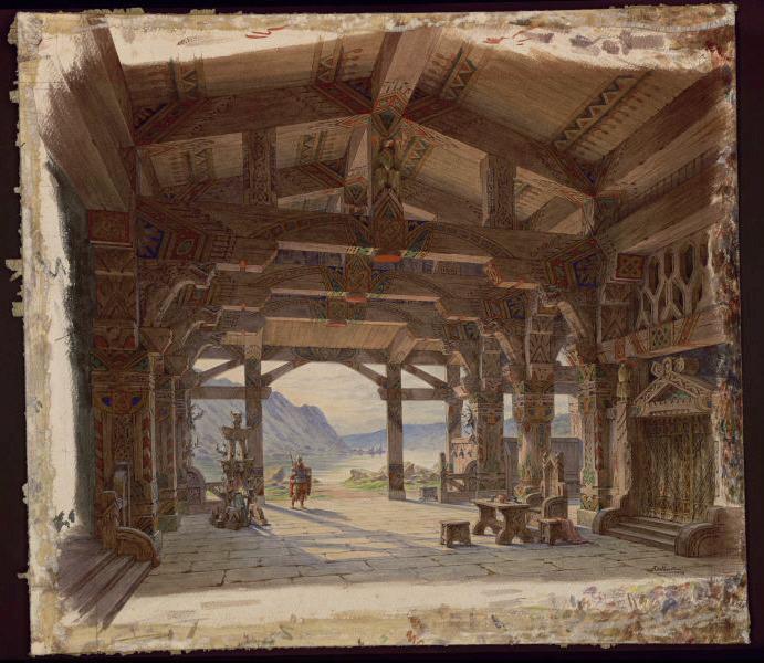 BELLUOT Ambroise (peintre) : Décor pour le Crépuscule des Dieux (Titre selon cat. exp. 1987)