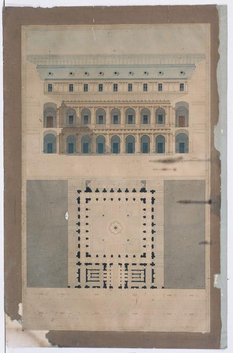 Plan élévation d'un palais ; Ancien hôpital Saint-Jean à Angers. Coupe de la salle des malades. (Erreur) ; Ancien hôpital Saint-Jean. Plan (Erreur)_0