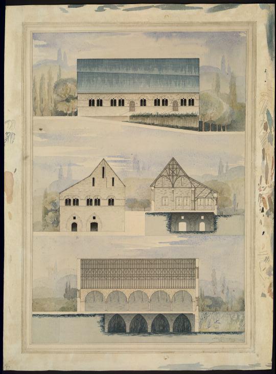 Ancien hôpital Saint-Jean à Angers. Coupe de la salle des malades. (Elévation, coupe)
