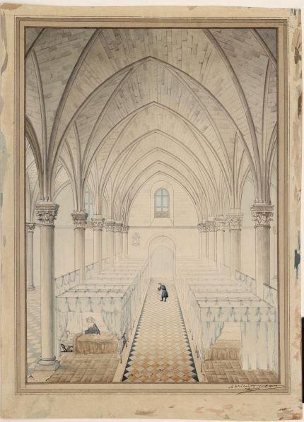 Ancien hôpital Saint-Jean à Angers. Salle des malades (Perspective intérieure de la salle des malades)_0