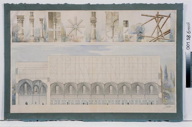 Ancien hôpital Saint-Jean. Coupe longitudinale et détails (Coupe longitudinale et détails)