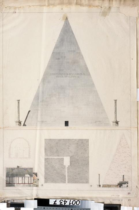 Rome, tombeau de Caïus Cestius (Elévation, plan et coupes)_0