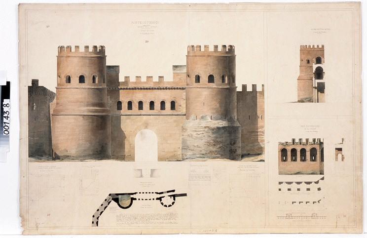 GARREZ Pierre Joseph (dessinateur) : Rome, porte Ostiensis (dite porte Saint-Paul) (Elévation, plan et coupes)