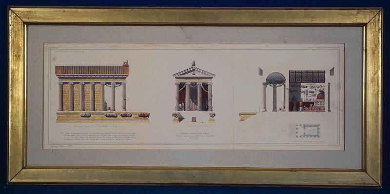 GARREZ Pierre Joseph (dessinateur) : Rome, temple de la Fortune Virile (aujourd'hui temple de Portunus). Restitution. (Elévations, coupe et plans.)