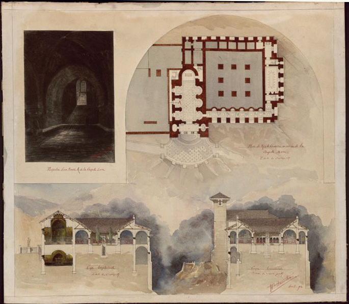 HANNOTIN Henri Paul (architecte) : Projet de couvent pour les Pères blancs, dans l'Atlas (présenté au Salon de 1895) : plan, coupes sur le cloître et les chapelles