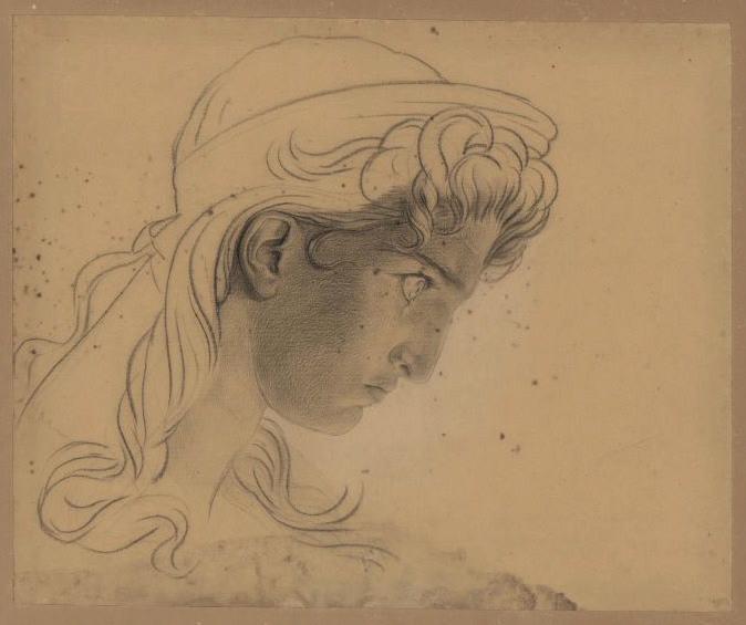 Etude pour le visage de Clytemnestre vu de profil ; Tête vue de profil de Clytemnestre (autre titre)