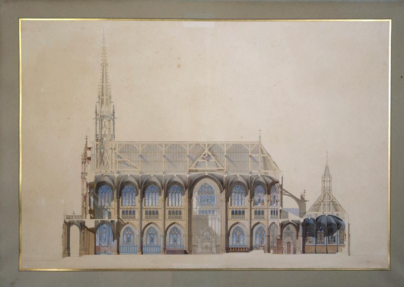 Eglise Saint-Bernard, Paris, projet (Coupe longitudinale)_0