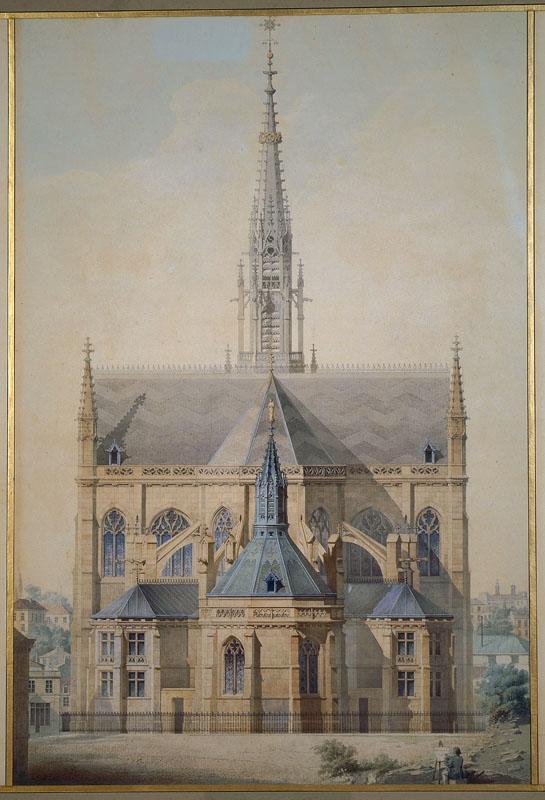Eglise Saint-Bernard, Paris, élévation du chevet (Coupe transversale de la nef, élévation du chevet, coupe longitudinale du transept.)_0