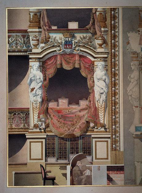 Paris, théâtre du Vaudeville (Vue et coupe de la loge d'avant scène)_0