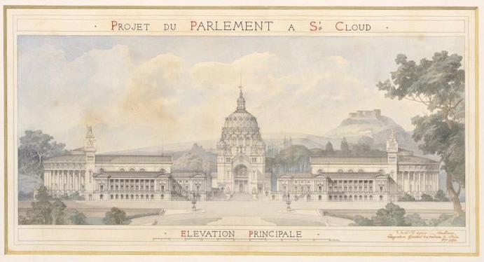 MAGNE Auguste Joseph (dessinateur, architecte) : Projet pour le parlement à Saint-Cloud, octobre 1874