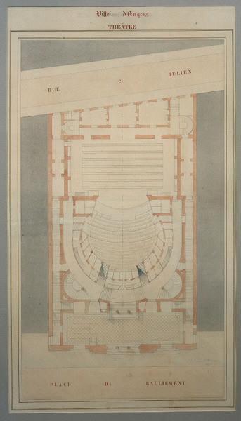 MAGNE Auguste Joseph (dessinateur, architecte) : Théâtre d'Angers (1866-1871)