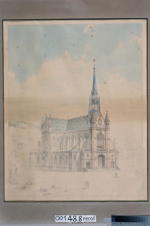 MAGNE Auguste Joseph (dessinateur, architecte) : Eglise Saint-Bernard, Paris, projet (Vue perspective inachevée)