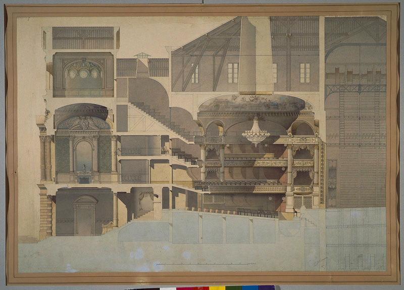 MAGNE Auguste Joseph (dessinateur, architecte) : Théatre d'Angers (1866-1871) (Coupe longitudinale)