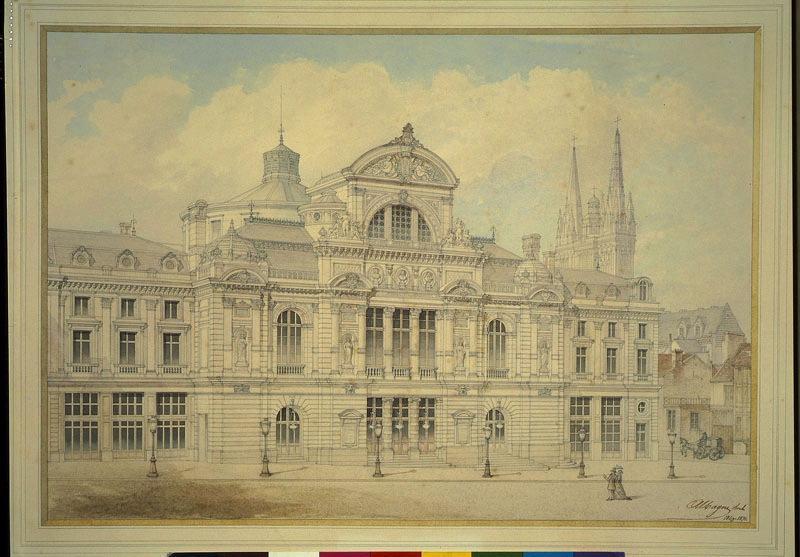 Théatre d'Angers (1866-1871) (Perspective du théâtre avec les deux immeubles accolés)