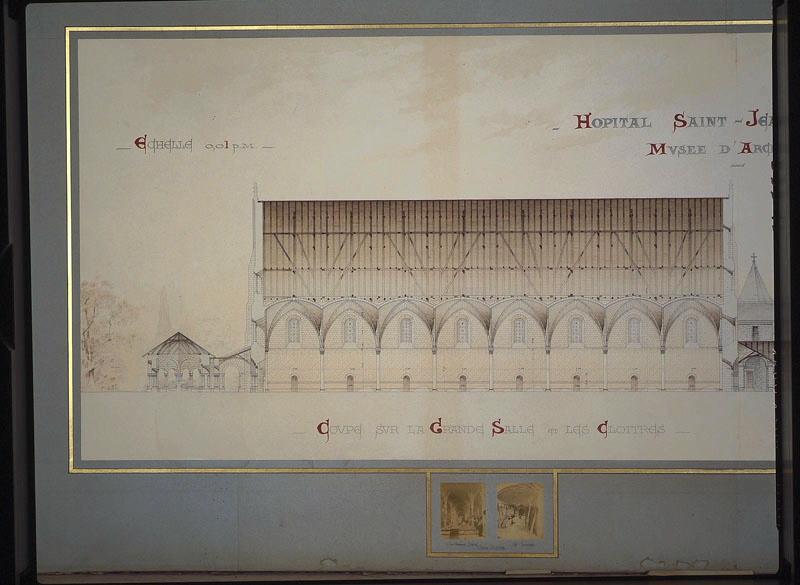 MAGNE Lucien (architecte) : Hôpital Saint-Jean, projet de restauration (Elévation restaurée. Coupe de la salle des malades, coupe et élévation des galeries du cloître élévation des greniers.1889.)