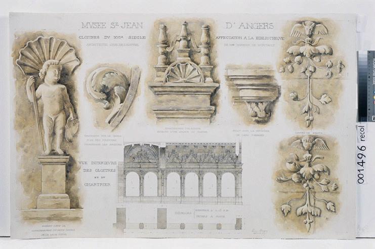 Hôpital Saint-Jean, projet de restauration, cloître, détails de l'ornementation (Cloître construit par Jean de l'Espine : détails de l'ornementation. Relevés)