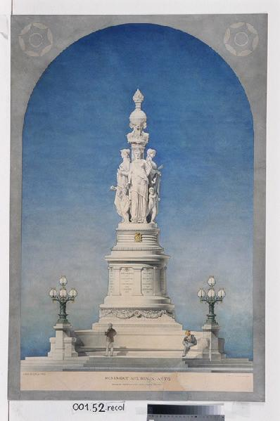 ROUX Louis François (architecte) : Monument aux Beaux-Arts projeté pour la cour d'un grand musée (Elévation)