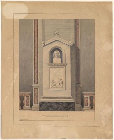 VAUDOYER Léon (dessinateur, architecte) : Rome, monument à Nicolas Poussin