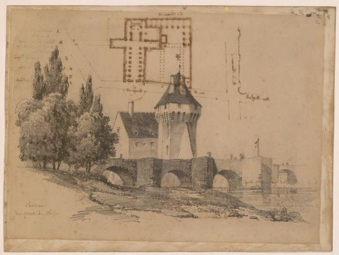 BARBOT Prosper (dessinateur, attribué) : Château des Ponts-de-Cé