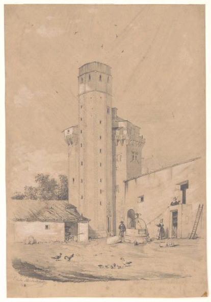 Donjon du château de la Bourgonnière (Au verso)