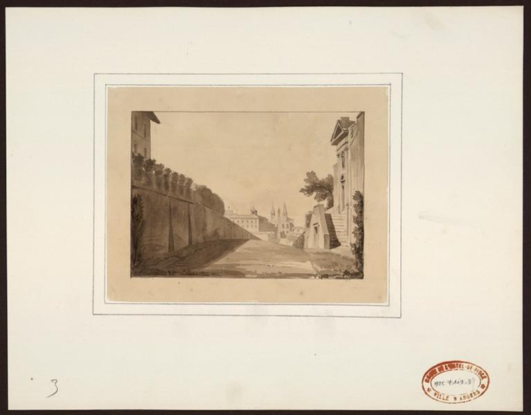 LE SUEUR Jean-Baptiste (dessinateur) : Vue d'un obélisque et d'une église depuis une ruelle