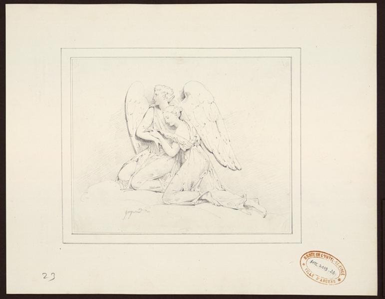 GAYRARD Raymond (dessinateur, peintre) : Un ange soutient une jeune femme