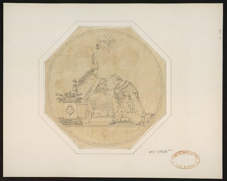 anonyme (dessinateur, peintre) : Un pape baptise Napoléon