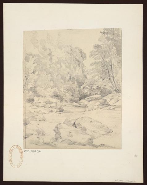 anonyme (dessinateur) : Ruisseau dans la forêt