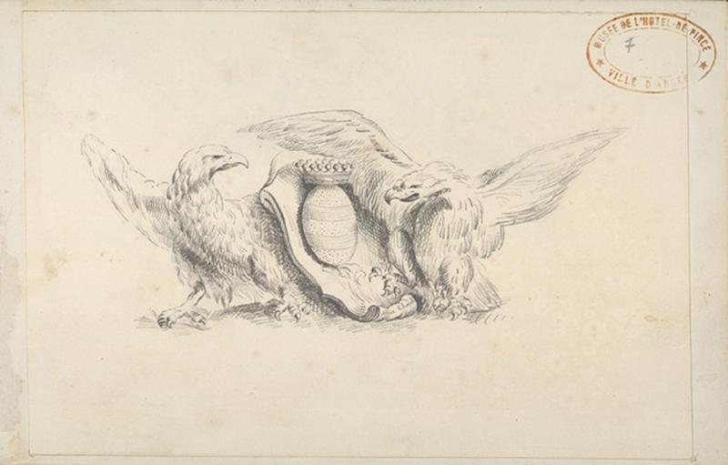 THOREL Cécile Marie (dessinateur) : Deux aigles entourent des armoiries