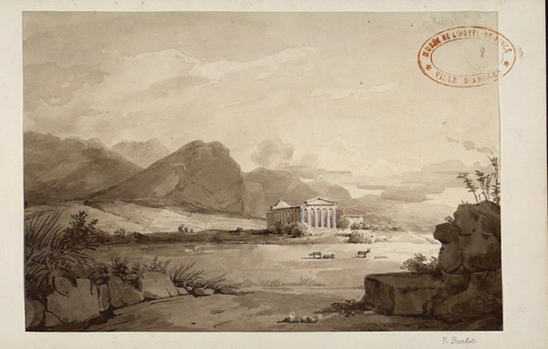 BARBOT Prosper (dessinateur) : Temple dans un paysage